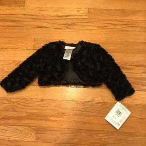 Faux fur black jacket to go over formal dress